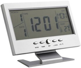 Voice Control Back-Light Digital LCD Alarm Clock With Temprature, Calendar For Home/Office