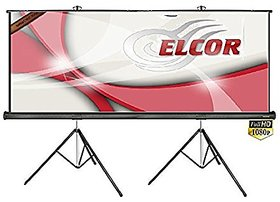 ELCOR Tripod Type Projector Screen 10Ft. (Width) x 8Ft. (Height) In Imported High Gain Fabric, Comes With Tripod Stand,