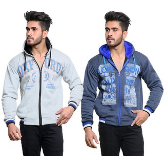 Mynte Mens Full sleeve Printed Grey Blue Zipper Hooded Sweatshirt Combo (Pack of 2)