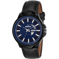 MARCO Blue Dial Black Strap Men's Day N Date Watch