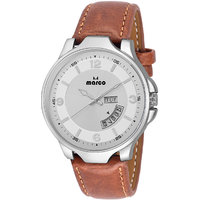 MARCO White Dial Brown Strap Men's Day N Date Watch - 130400749