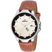 MARCO White Dial Brown Strap Men's Day N Date Watch - 130400814