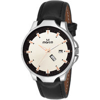 MARCO White Dial Black Strap Men's Day N Date Watch