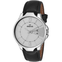 MARCO White Dial Black Strap Men's Day N Date Watch - 130400862