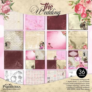 Papericious Wedding Collection 12x12 Inch 36 Assorted Design Sheets 200 GSM Craft Paper Origami Sheet Scrapbook