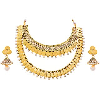 d709cf9c7b201 JFL - Traditional Ethnic Temple Laxmi Goddess Coin One Gram Gold Plated  Designer Necklace Set Studded with Stones Pear