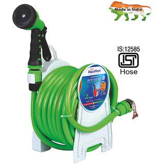 AquaHose Household Water Hose Reel Green 7.5mtr (12.5mm ID) Hose Pipe