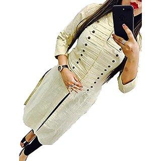 Clothfab Women's Cotton Plain Solid Self Designer Casual Kurti (Off-White-Colour-XL)