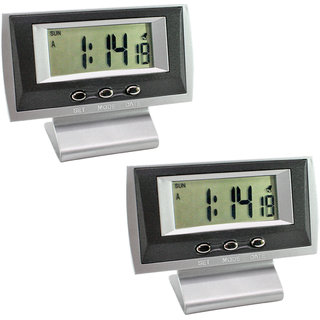 2 X Digital LCD Alarm Table Desk Car Clock Timer Stopwatch - A07