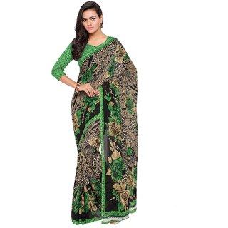 Aagaman Fashion Multi-Coloured Faux Georgette Printed Casual Wear Saree