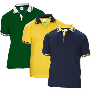 Baremoda Multicolor Plain Cotton Blend Polo Collar Casual T-Shirt For Men Pack Of 3
