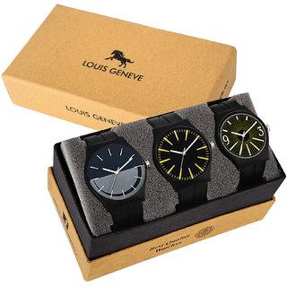 Louis Geneve Trendy, Fashionable, Elegant High Quality Set of 3 Men's Combo Isport Wrist Watch LG-CLMW-335