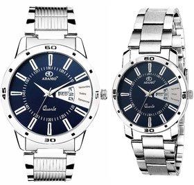 ADAMO Designer Couple's Wrist Watch 813-814SM05