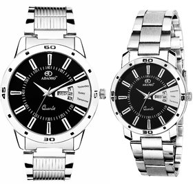 ADAMO Designer Couple's Wrist Watch 813-814SM02