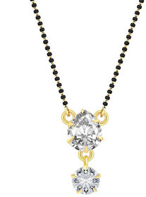 Bandish Gold toned Almond shaped American Diamond Stud Mangalsutra with Chain