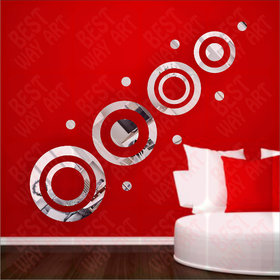Best Dcor Ring And Dots Silver(Pack of 15)Acrylic Sticker, 3D Acrylic Sticker, 3D Mirror, 3D Acrylic Wall sticker, 3D Acrylic stickers for wall, 3D Acrylic Mirror stickers for living room, bedroom, kids room, 3D Acrylic mural for home  offices dcor 2