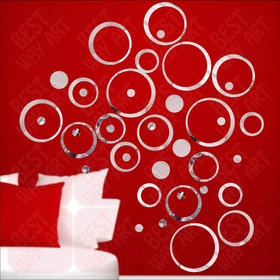 Best Dcor 40 Circle Ring And Dots Silver(Pack of 40) Acrylic Wall Sticker (5 cm *20 Cm*5 cm)