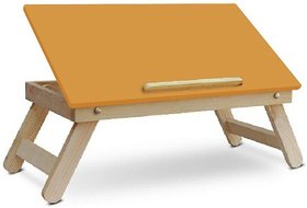 IBS Colorwoodd Sneea Full open foldable Solid Wood Portable Laptop Table  Finish Color   Orange