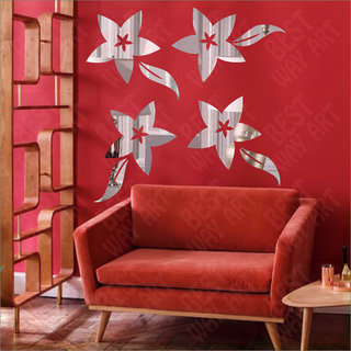 Best Dcor Flovers Silver(pack of 4)Acrylic Sticker, 3D Acrylic Sticker, 3D Mirror, 3D Acrylic Wall sticker, 3D Acrylic stickers for wall, 3D Acrylic Mirror stickers for living room, bedroom, kids room, 3D Acrylic mural for home  offices dcor 2