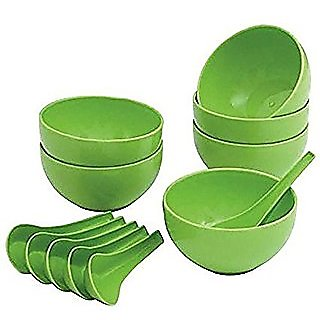 Set of 12 pcs Microwave Safe Soup Bowl in Opalware PVC Material- 100 ml Green