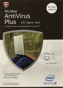 McAfee Anti-Virus Plus - 1 PC, 1 Year (CD), Latest Version (Email Delivery in 2 hours- No CD)