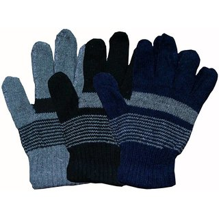 Set of 3pcs Softoe Striped Winter Womens Gloves