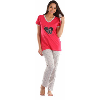 Lenissa Presents Women's Superior Comfortable Pyjama Set with Red  Cream  Heart Print