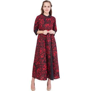 Red Black Printed Anarkali Dress
