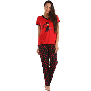 Lenissa Presents Women's Superior Comfortable Pyjama Set with Red & Black Cat Paw Print