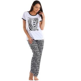 Lenissa Presents Women's Superior Comfortable Pyjama Set with White  Black Zibra Pattern Print