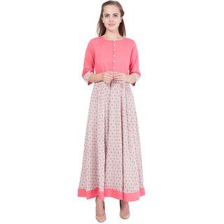 Contrast Pink/Beige Printed Crepe Anarkali Dress