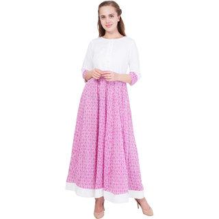 Contrast White/Pink Crepe Anarkali Dress