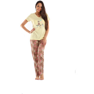 Lenissa Presents Women's Superior Comfortable Pyjama Set with Yellow  Brown Floral Print