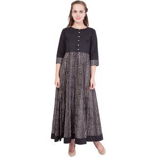 Contrast Black/Brown Cotton Crepe Anarkali Dress