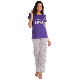 Lenissa Presents Women's Superior Comfortable Pyjama Set with Violet  Cream Love Birds Print