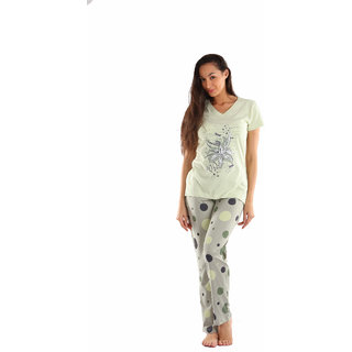 Lenissa Presents Women's Superior Comfortable Pyjama Set with Off Green Dotted Print