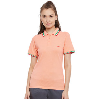 PERF Women Peach Cotton Regular Fit Polo Tshirt