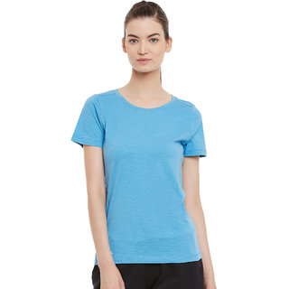PERF Sky Blue Cotton Regular Fit Tshirt for Women