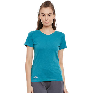 PERF Dark Green Cotton Regular Fit Tshirt for Women