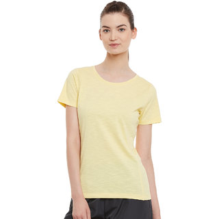 PERF Yellow Cotton Regular Fit Tshirt for Women
