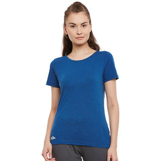 PERF Navy Cotton Regular Fit Tshirt for Women
