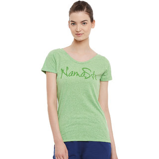 PERF Green Cotton Regular Fit Yoga Nep Tshirt for Women