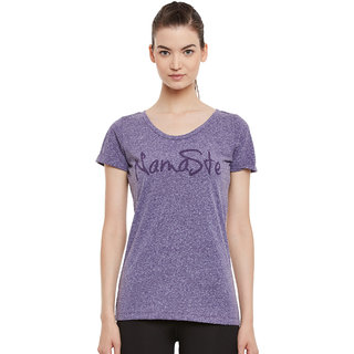 PERF Purple Cotton Regular Fit Yoga Nep Tshirt for Women
