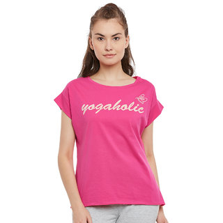 PERF Pink Rush Cotton Regular Fit Yoga Nep Tshirt for Women