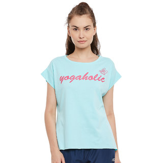 PERF Powder Blue Cotton Regular Fit Yoga Nep Tshirt for Women