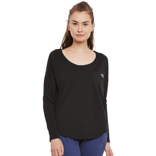 PERF Black Cotton Regular Fit Yoga Tshirt for Women