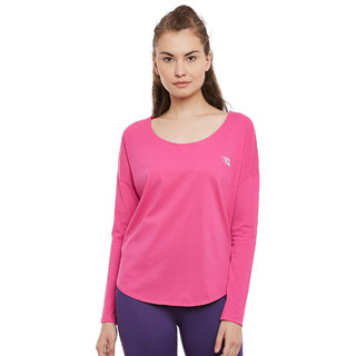 PERF Pink Rush Cotton Regular Fit Yoga Tshirt for Women
