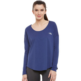 PERF Sport Blue Cotton Regular Fit Yoga Tshirt for Women