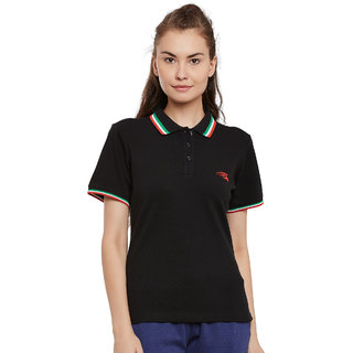 PERF Women Black Cotton Regular Fit Polo Tshirt