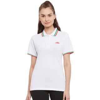 PERF Women White Cotton Regular Fit Polo Tshirt